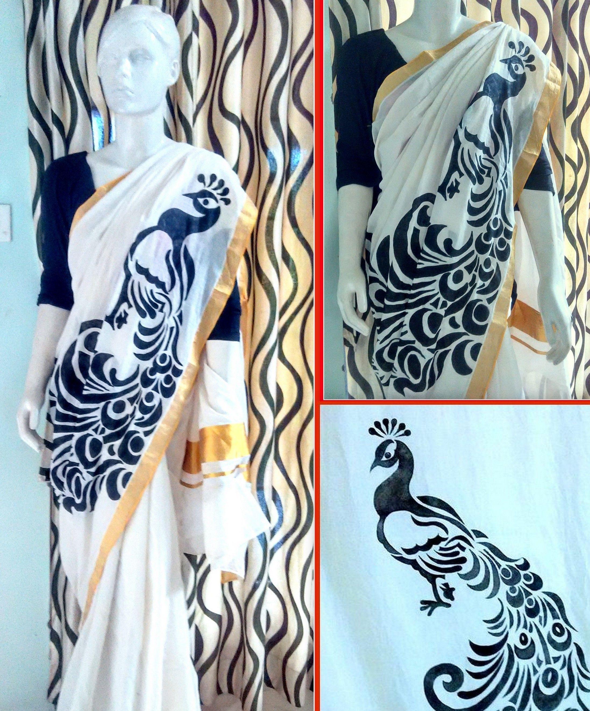Pin by Avanthika Murals on kerala mural saree   Pinterest   Saree ... for Fabric Painting Designs For Kerala Sarees  56mzq