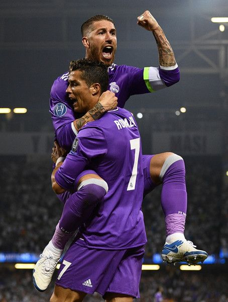 Cristiano Ronaldo Of Real Madrid Celebrates Scoring His Sides First Goal With Sergio Ramos Of Real Madrid During The Uefa Champions League Final Between