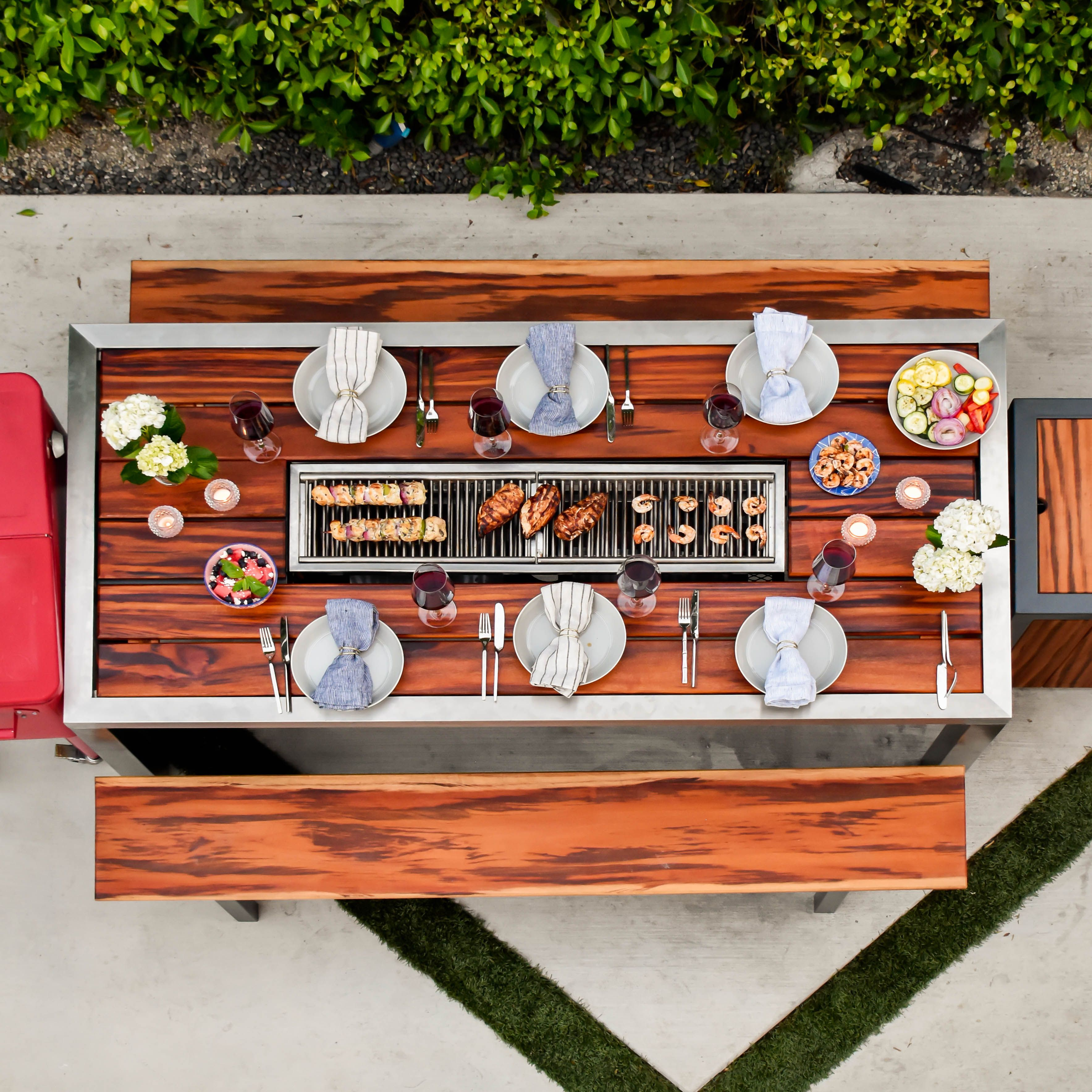 If You Ve Ever Eaten At A Korean Barbecue Or Japanese Teppanyaki Restaurant You Kno In 2020 Modern Outdoor Dining Table Outdoor Bbq Grill Patio Dining Table