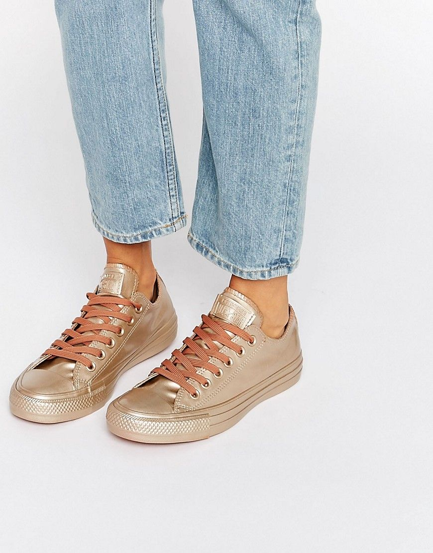 Converse Chuck Taylor All Star Bronze Metallic Rubber Trainers - Gold.