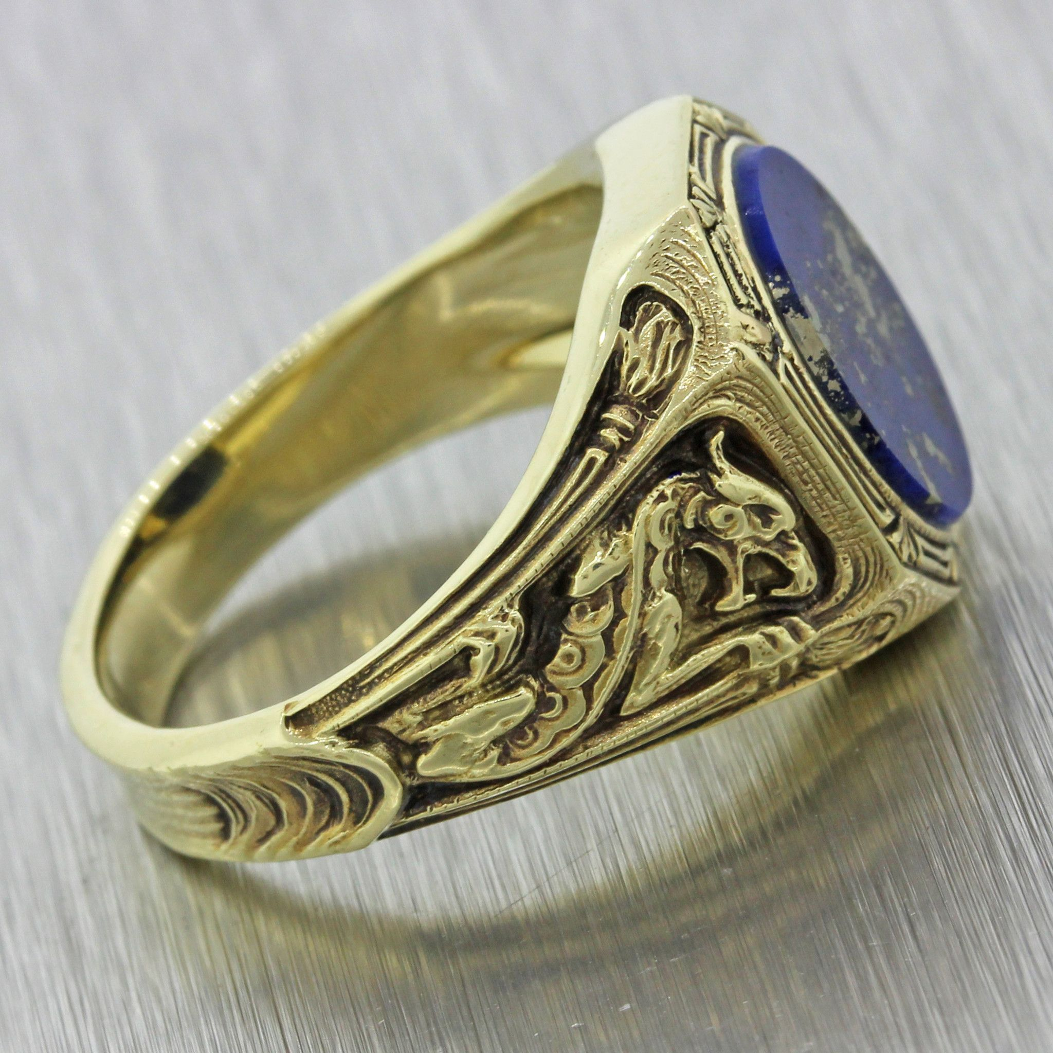 1960s Mens Vintage 14k Solid Yellow Gold Lapis Lazuli Dragon