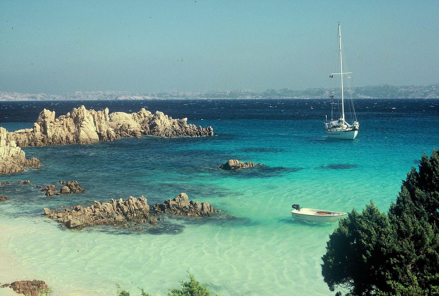 At Anchor Off Pink Beach Sardinia Italy