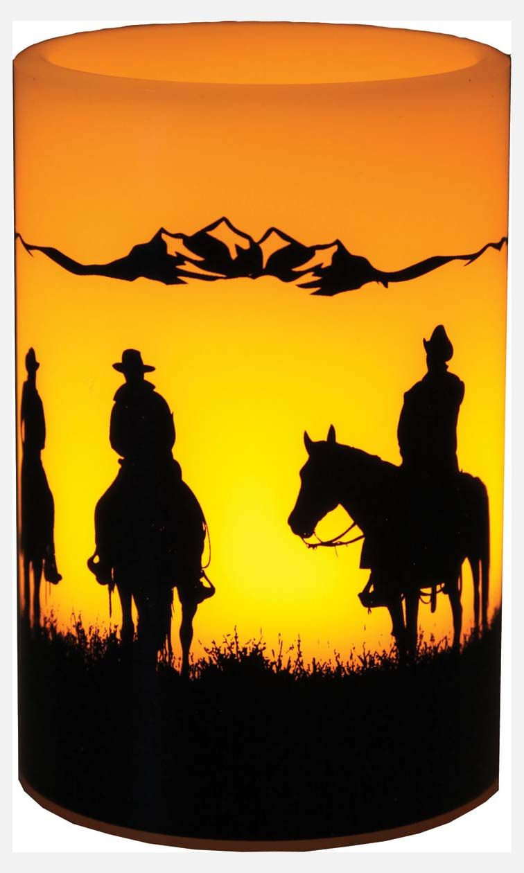 Cowboy Silhouette LED Candle | Horses, Cowboys & Indians Western ...
