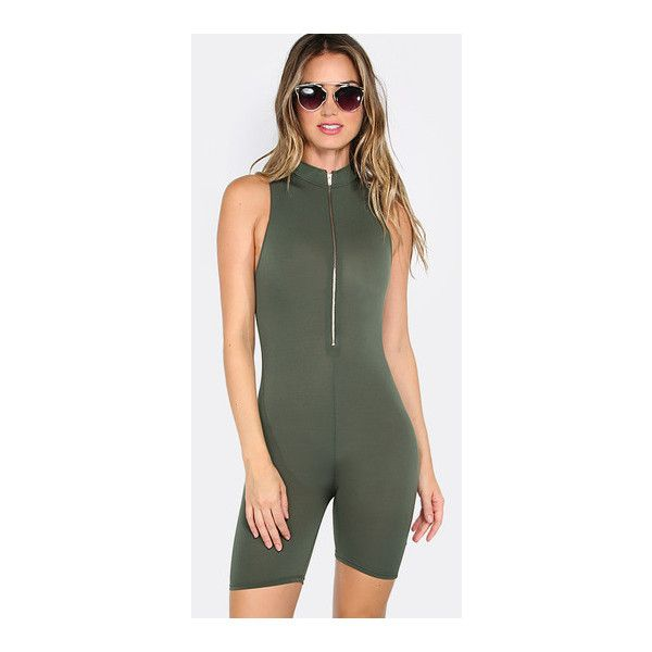 SheIn(sheinside) Army Green Zipper Front Skinny Sleeveless Jumpsuit (€11) ❤ liked on Polyvore featuring jumpsuits, green, summer jumpsuits, olive green jumpsuit, green jumpsuit, zip front jumpsuit and olive jumpsuit