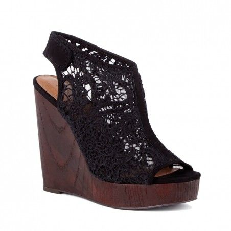 a82ce9e18d3 Black crochet platform wedges with a slingback Velcro strap and wooden wedge