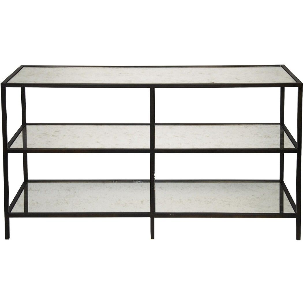 Glass console table with shelf noir  tier console w antique glass  console tables  living room