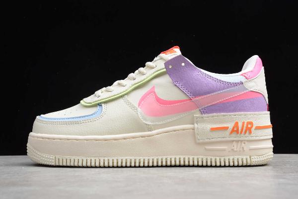 2019 Wmns Nike Air Force 1 Shadow Beige White Orange Cu3012 164 Nike Air Shoes Nike Air Nike Air Force Ones