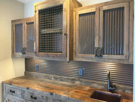 Reclaimed corrugated antique barn tin by timelessjourney for Wood and metal cabinets