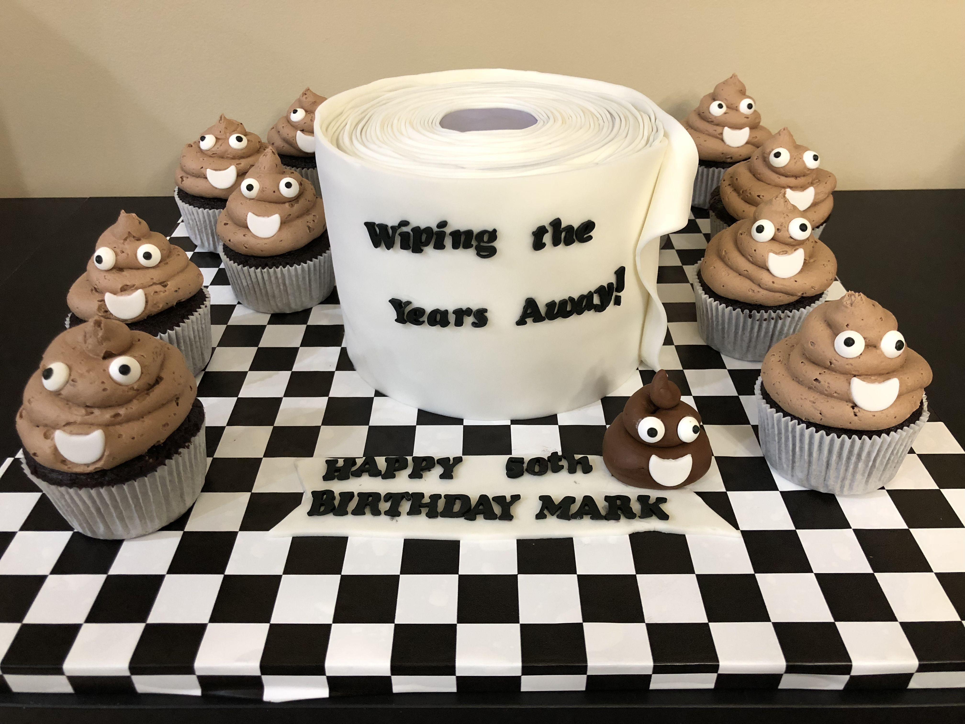 50th Birthday Cake Poop Emoji Cupcakes Toilet Paper Cake