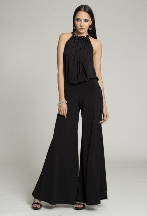 f3deb7e069a Dressy Tops - Beaded Halter Black Jumpsuit from Camille La Vie and Group USA