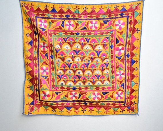 Vintage Indian Embroidered Wall Hanging 45 Embroidery Art Indian Crafts Fabric Art