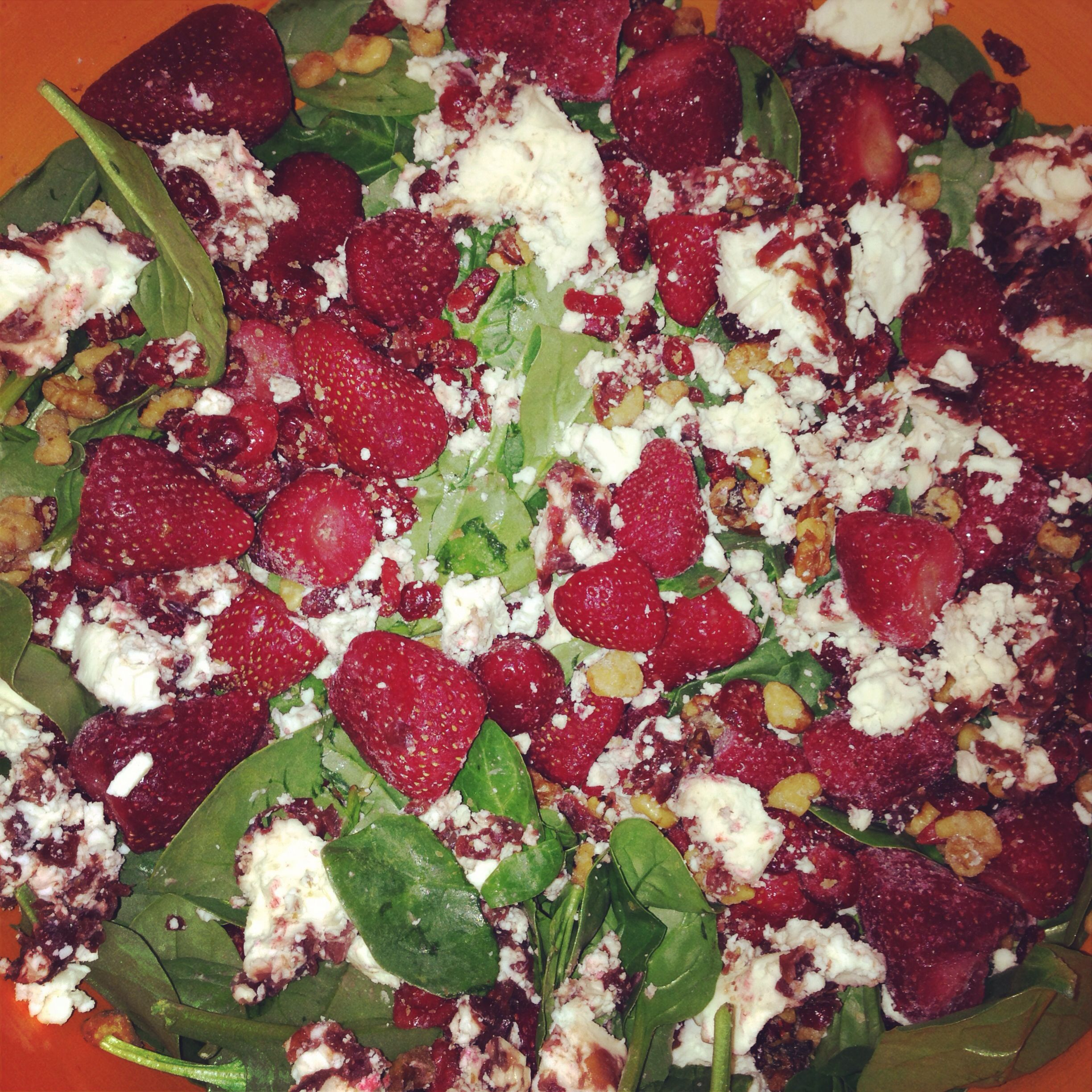So yummy spinach salad I made for Christmas Day :) #spinach #strawberries cranberry goat cheese (oh...