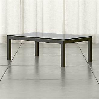 Parsons Clear Glass Top Dark Steel Base 48x28 Small Rectangular Coffee Table Rectangular Coffee Table Coffee Table Steel Coffee Table