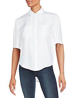 FRAME DENIM Silk Button-Front Shirt. #framedenim #cloth #shirt