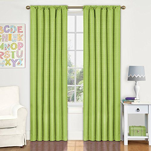 Eclipse Kids Kendall Blackout Thermal Curtain Panel,Lime,...