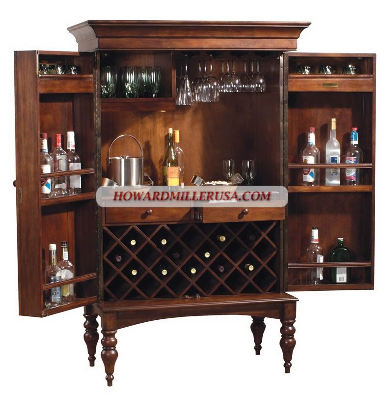 695014 Howard Miller Hide Wine Spirit Bar Cabinet With Stemware Rack
