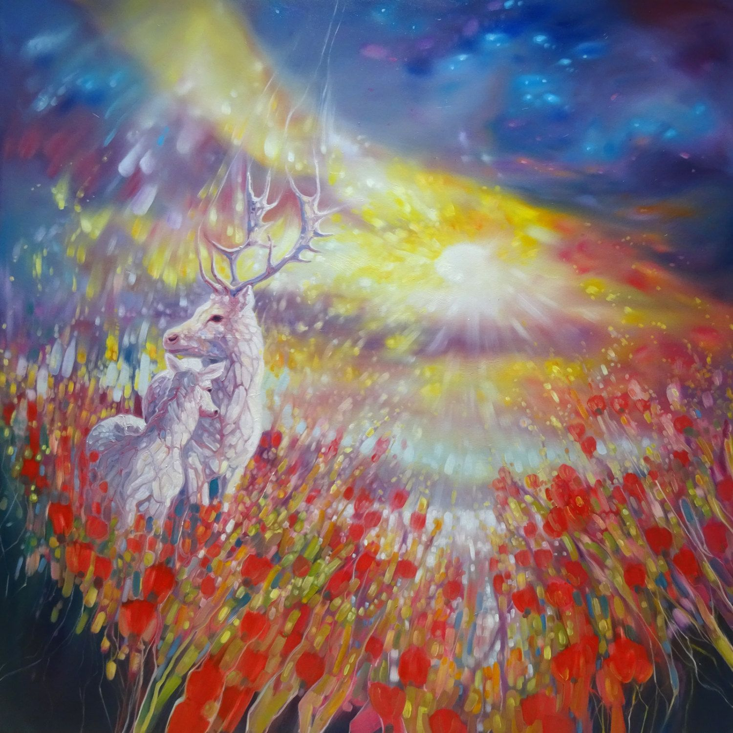 Original Oil Painting - Summer Gods - Large painting of two white deer in a wildflower and poppies summer landscape at sunset by SussexPaintings on Etsy. www.gillbustamante.com