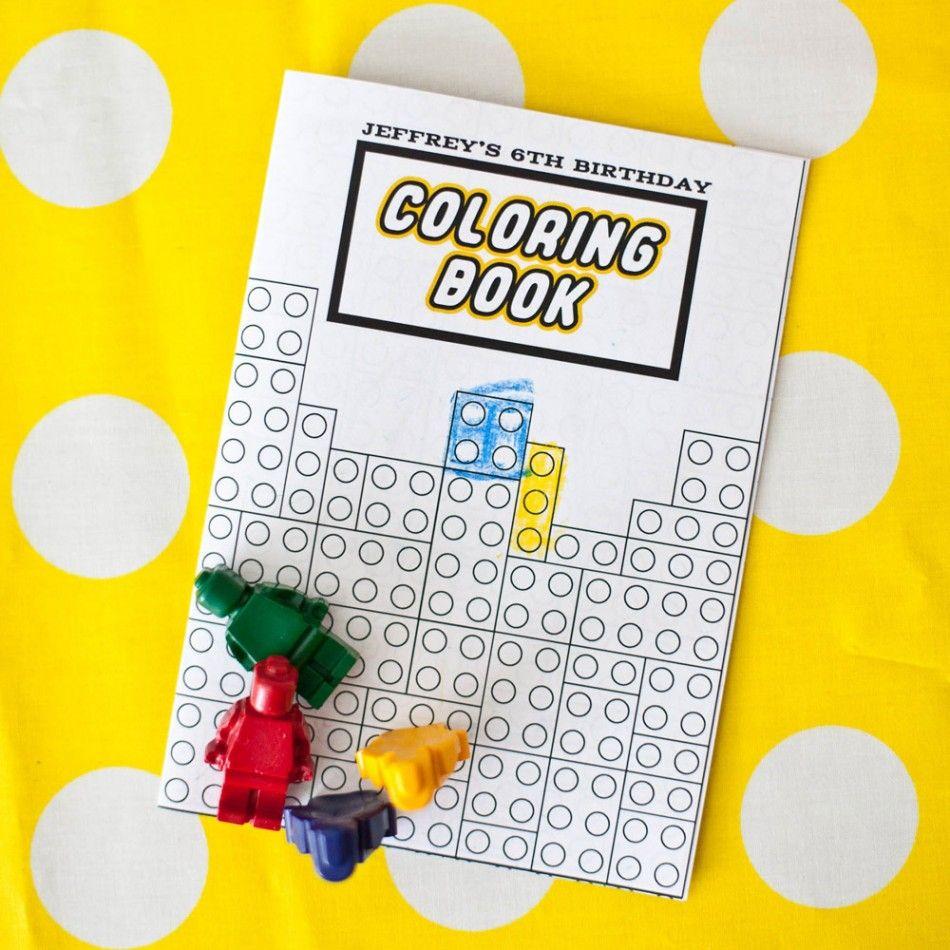 Lego coloring book printable - Great Favors Idea Lego Party Modern Building Brick Birthday Party Printable Coloring Book