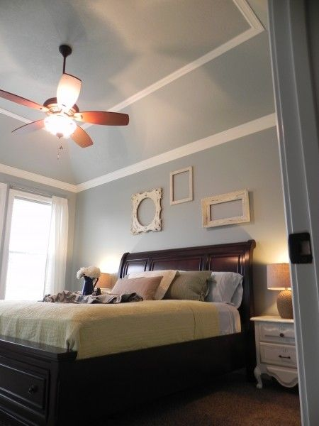 Add trim to cathedral ceiling look up pinterest for Bedroom cathedral ceiling