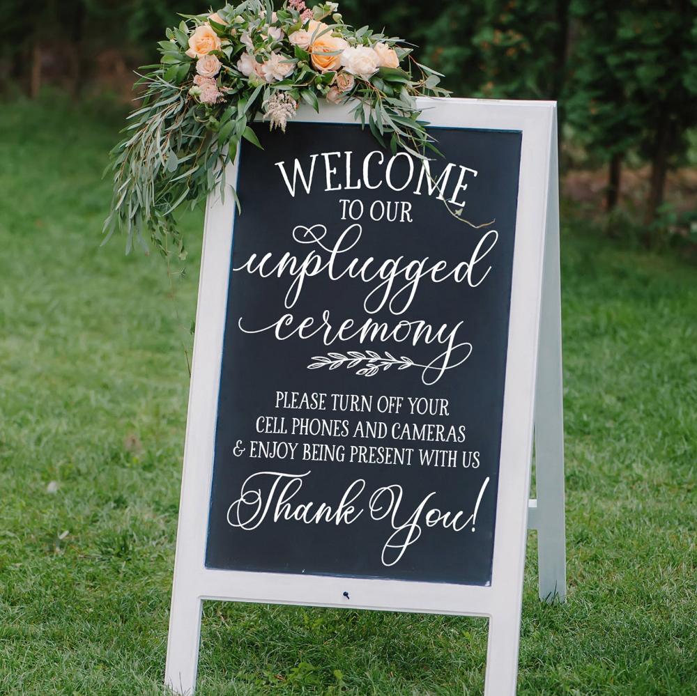 Unplugged Ceremony Sign Decal | Tafel Hochzeit Zeichen Aufkleber | DIY Bürgersteig Zeichen | Hochzeitsdeko | Bitte schalten Sie Handys und Kameras aus