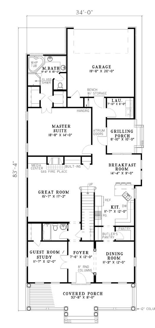 Rear garage connected with laundry and a grilling porch for Rear master bedroom house plans