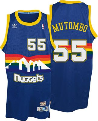 17ae8189260a Dikembe Mutombo Jersey  adidas Blue Throwback Swingman   55 Denver Nuggets  Jersey