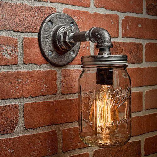 Mason Jar Sconce Light Fixture Industrial Rustic Loft Steampunk