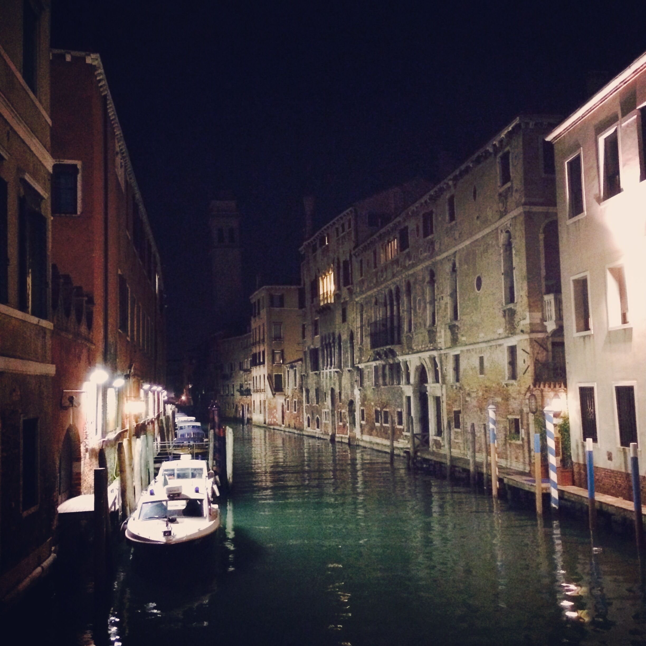 The canals of Venice after dark