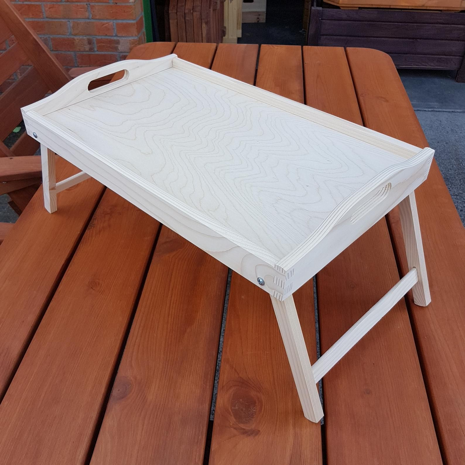 Wooden Breakfast Food Serving Lap Tray With Folding Legs For Bed For Decoupage Lap Tray Wooden Serving Trays Wooden Tray