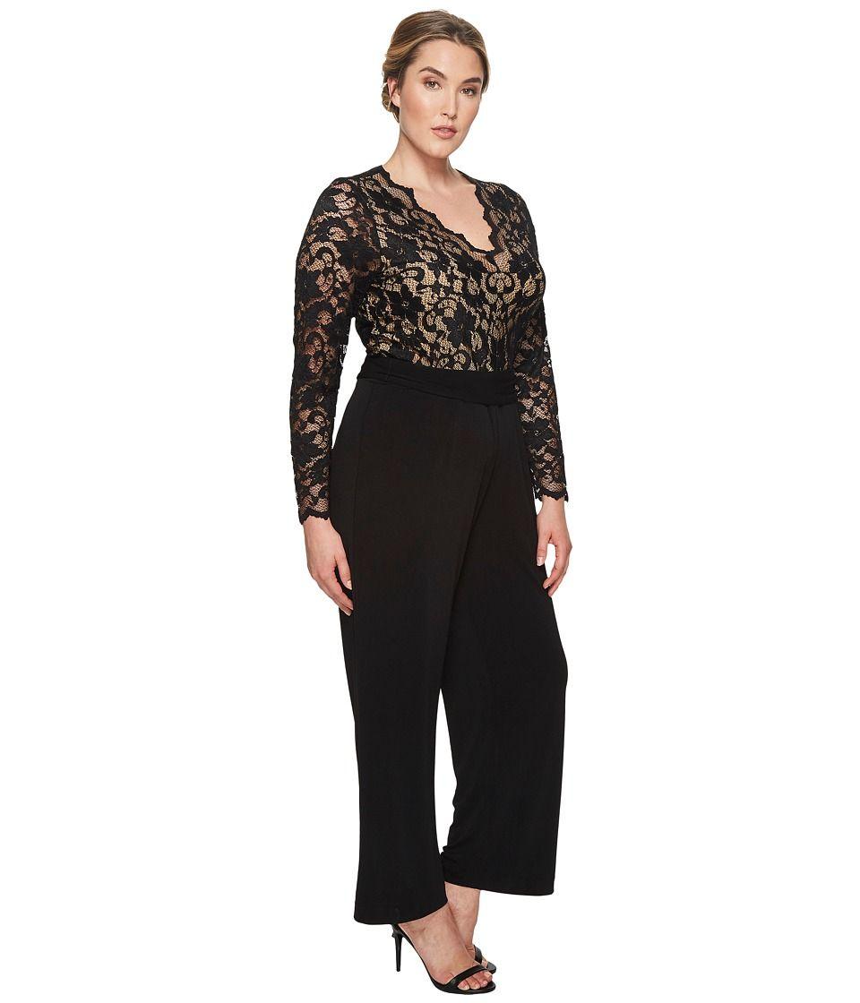 d8ed440a5f Karen Kane Plus Plus Size Scallop Lace Palazzo Jumpsuit Women's Jumpsuit &  Rompers One Piece Black