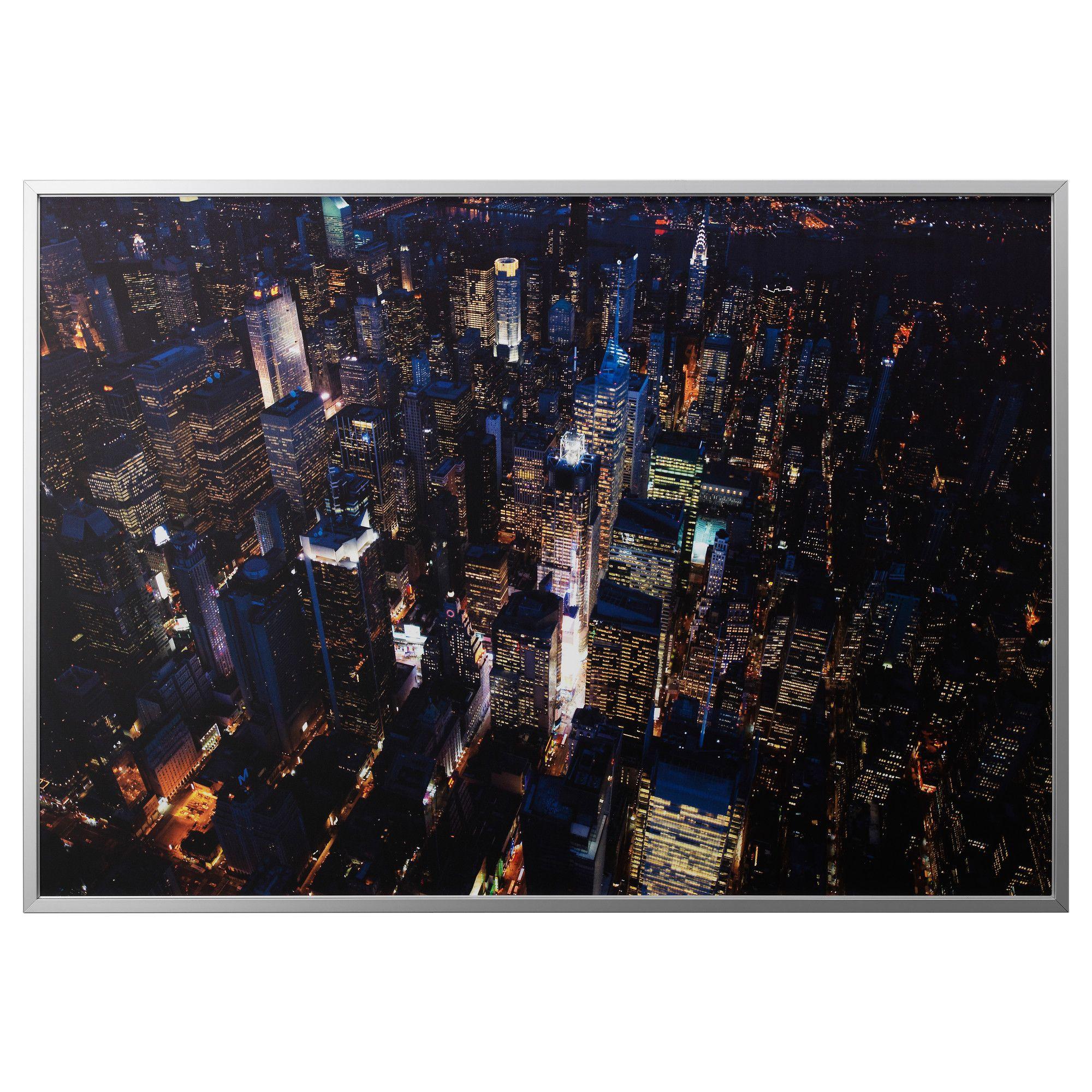 BJÖRKSTA, Gerahmtes Bild, Stadtlichter New York, aluminiumfarben ...
