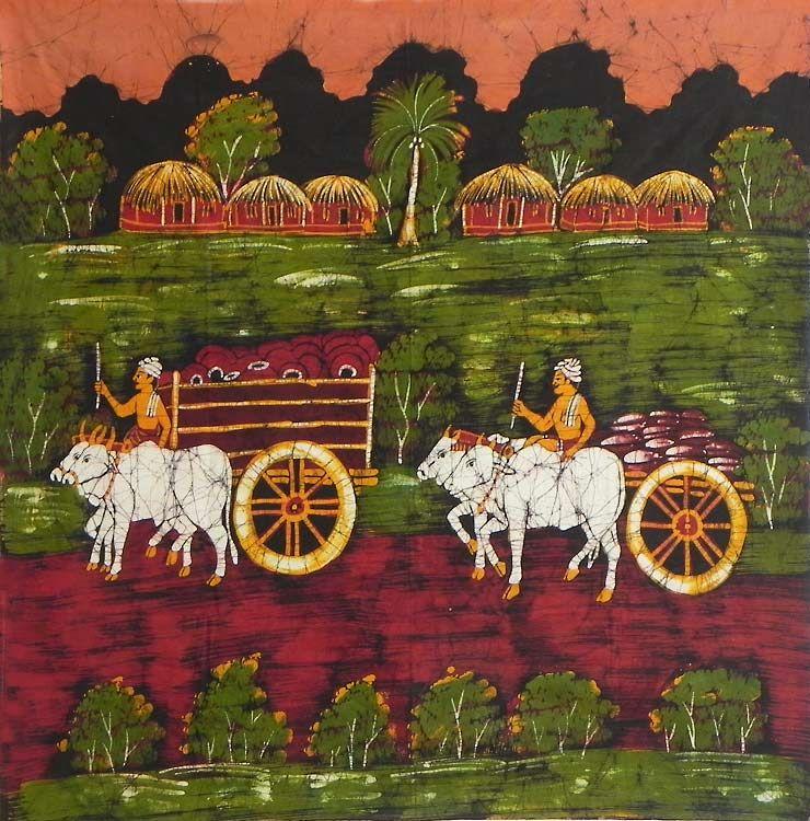 Bullock Carts Passing Through the Village (Batik Painting on Cotton Cloth - Unframed))