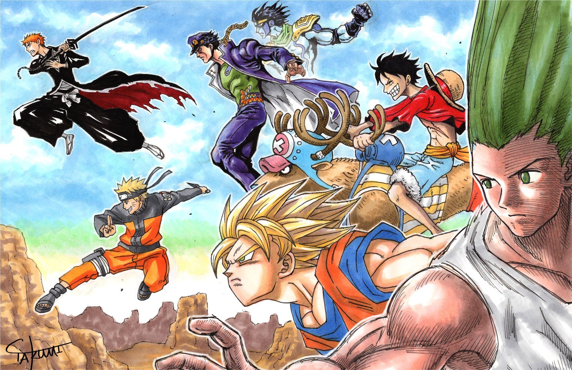 One Piece Dragon Ball Super Wallpaper Anime Crossover Hunter X Hunter Bleach Dragon Ball Z One Download Wallp Anime Crossover Anime Crossover Wallpaper Anime