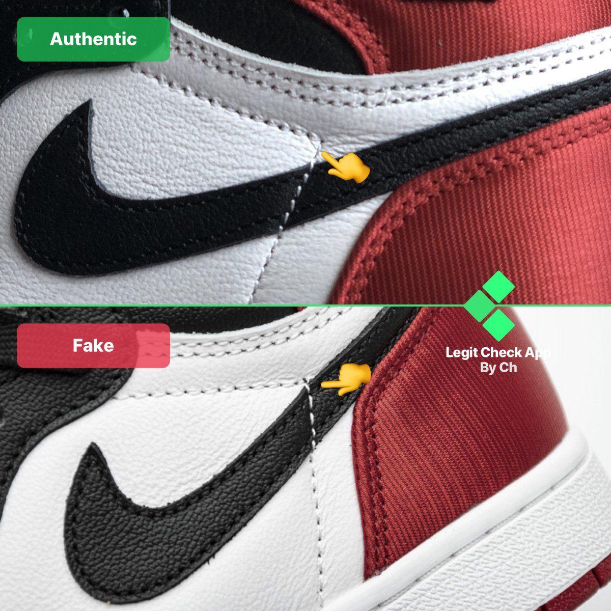 Step 7: Fake vs real Air Jordan 1 Satin Black Toe cross ...