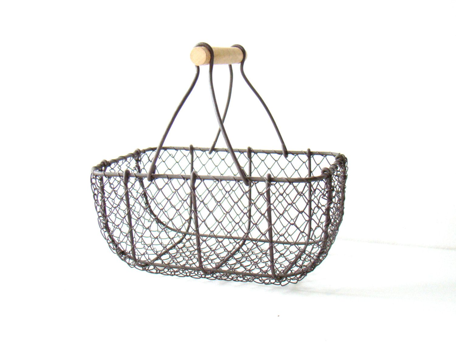 vintage french wire basket with wooden handle, shabby chic home ...