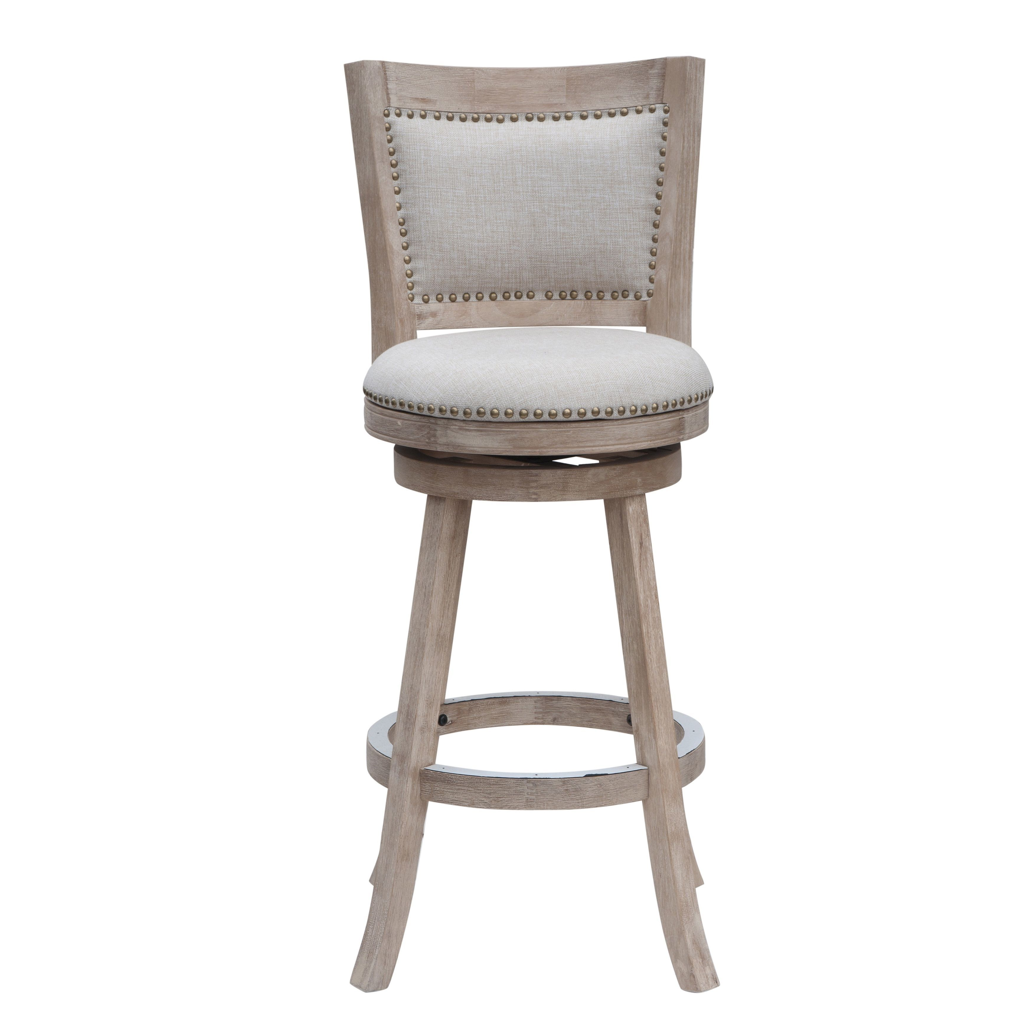 Melrose 29 Inch Swivel Bar Stool Creamivory Grey Rubberwood