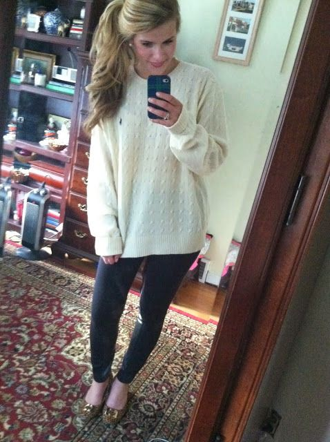 Ralph Lauren cable knit cashmere sweater, j. crew leather jodphur leggings, dvf flats