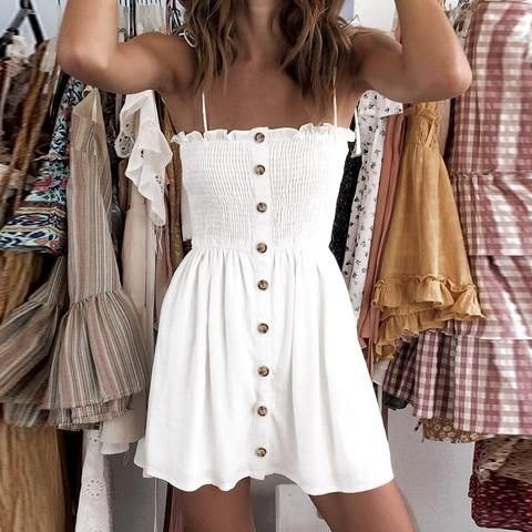 Photo of Fit Stretch Ruched Button Front Tie Shoulder Mini Sundress