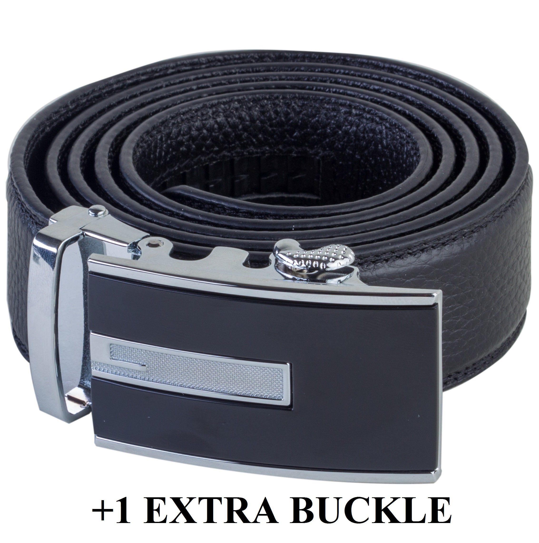 Mens Solid Black Genuine Leather Belt Gold Buckle Dress Strap Ratchet Fashion