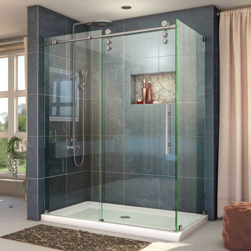 Dreamline Shen 6234480 Enigma Z 76 High X 49 Wide X 34 1 2 Deep Sliding Frame Brushed Frameless Shower Enclosures Corner Shower Enclosures Shower Enclosure