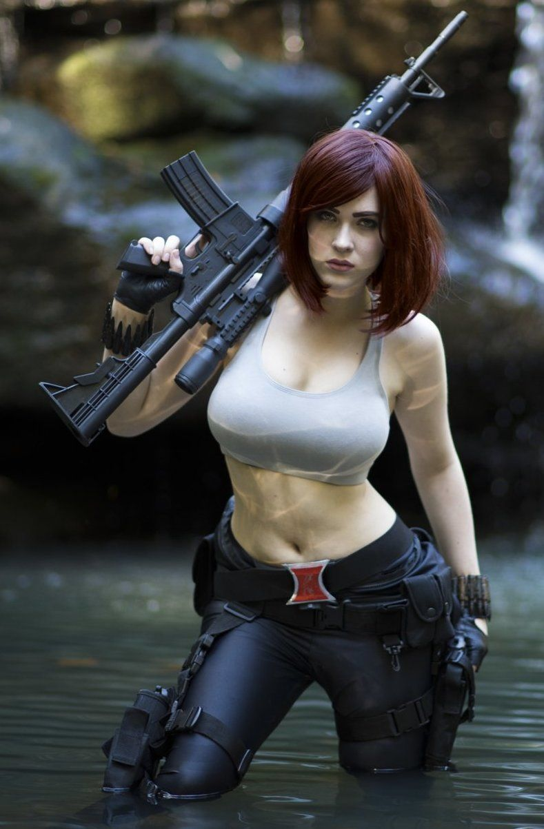 Cosplay girl with gun fill