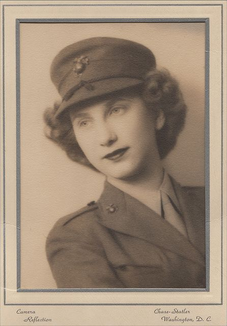 World War II Woman Marine stationed at Henderson Hall, Company L, Platoon 3., Camp Lejeune, portrait by Chase-Statler.
