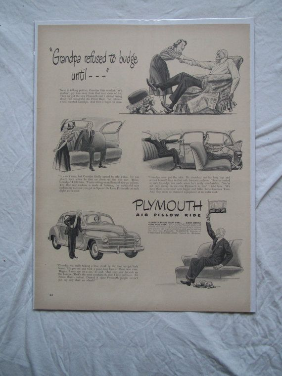 Vintage Plymouth Car Advertisement by Retrolane91 on Etsy, $6.00