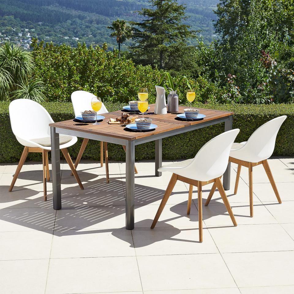Gartenmöbel Set San Francisco/Palmas (89x150, 4 Stühle, Weiß)