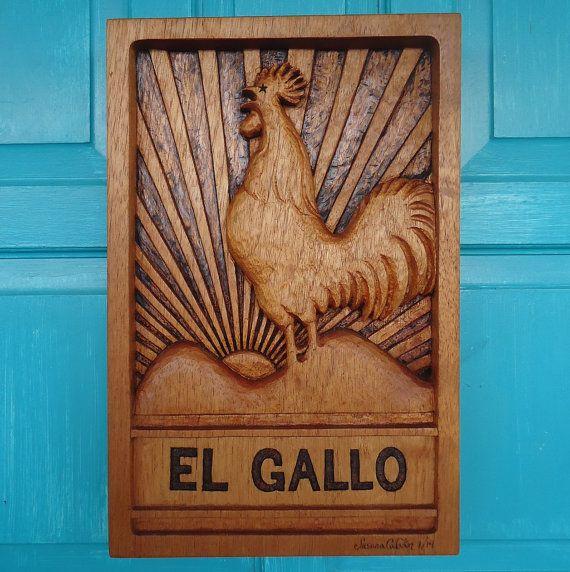 ROOSTER Wood Carving In Cedar Wood EL GALLO Rooster By