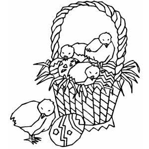Free Easter coloring sheets--Chicks And Easter Basket ...