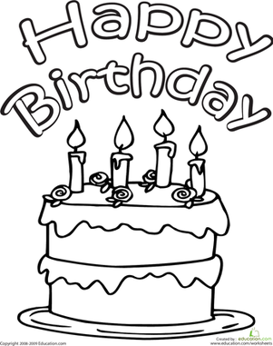 Color the Happy Birthday Cake Happy birthday cakes Worksheets