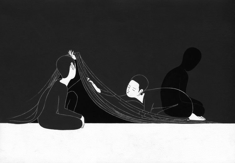 Indian ink and marker on paper artworks by korean artist daehyun kim a a moonassi