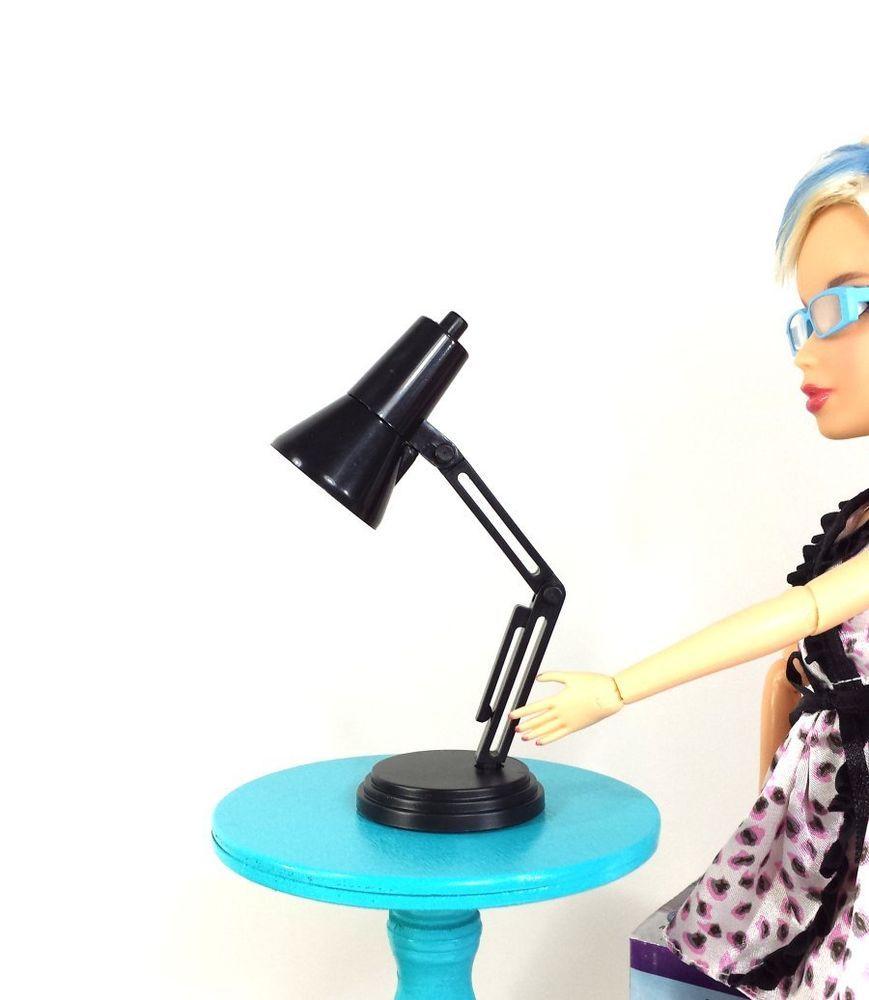 1 6 scale black desk lamp light working led for barbie monster high or blythe unbranded. Black Bedroom Furniture Sets. Home Design Ideas