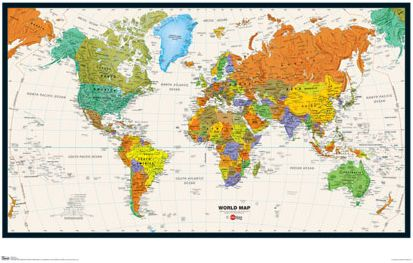 WALL MAP OF THE WORLD Poster Countries Capitals Cities - World map with cities and countries